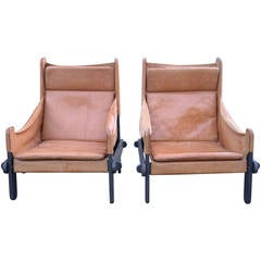 Pair of Sling Leather Brazilian Armchairs