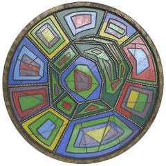 Large Multicolored Glass Wall Sculpture