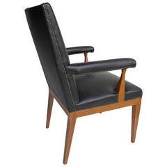 Pair of black Leather and Rosewood Office Chairs by Theo Tempelman, 1950s
