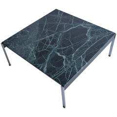 Large Kho Liang Le Green Marble and Stainless Steel Coffee Table
