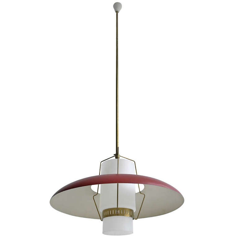 Large Italian pendant lamp, opaline glass and brass details