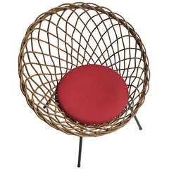 Twined Rattan Armchair 1950's