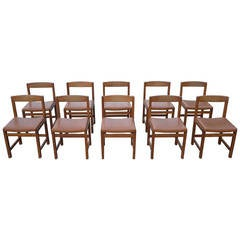 Ten Swedish Well-Crafted Dark Teak Dining Chairs