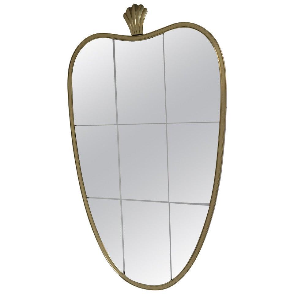 Italian brass mirror in the style of Gio Ponti