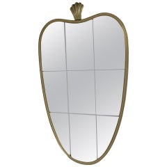 Italian brass mirror in the style of Gio Ponti