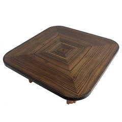 Sculptural Art Deco Coffee Table in Macassar Ebony