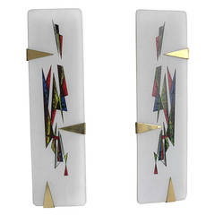 Pair of Painted Opaline Glass Wall Lamps by Arlus France