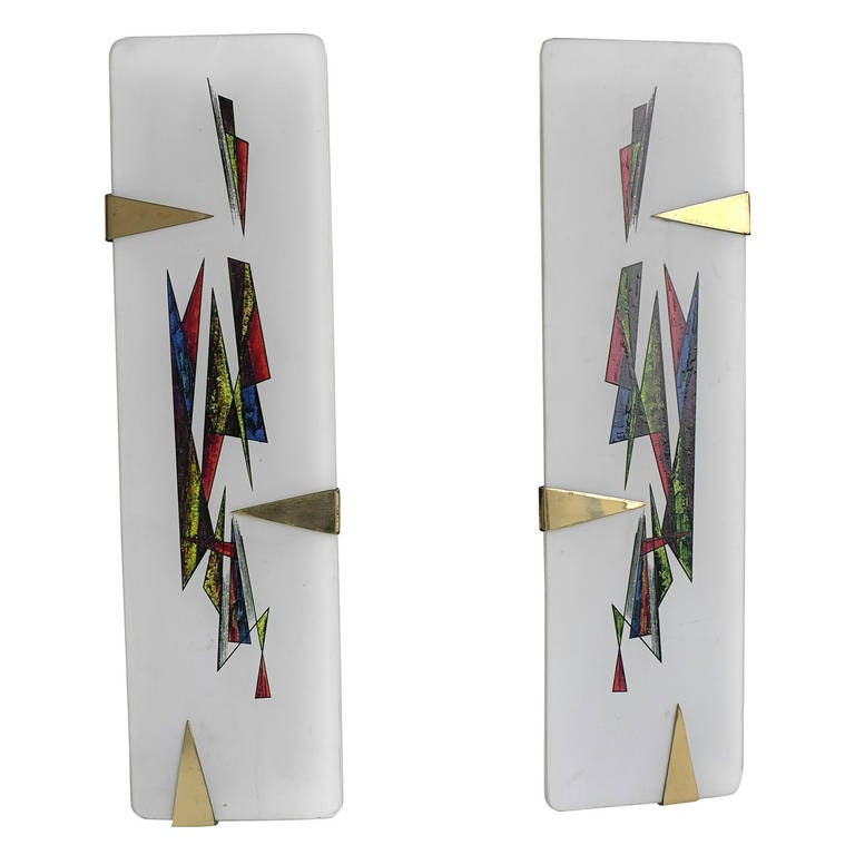 Painted Glass Wall Lights : Pair of Painted Opaline Glass Wall Lamps by Arlus France For Sale at 1stdibs