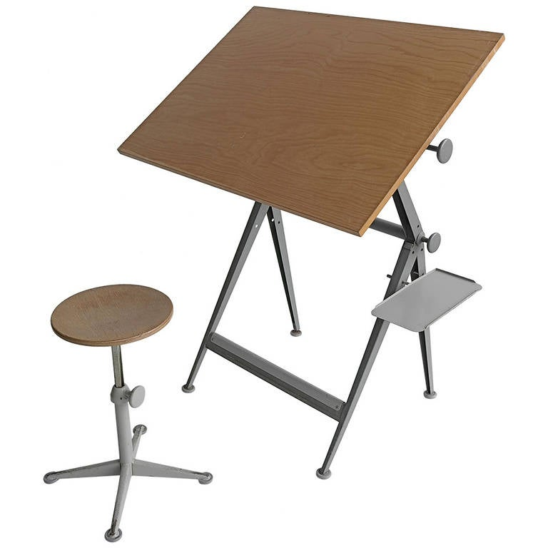 1964 Rare Friso Kramer Coffee Table For Ahrend De Cirkel: Friso Kramer Industrial Work Table By Ahrend De Cirkel