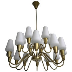 Brass and Opaline Glass Chandelier, Finland, 1960s