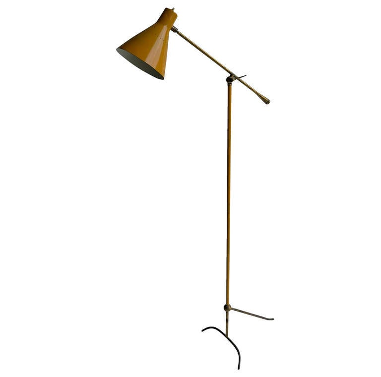 Italian alumium and brass floor lamp 195039s for sale at for 1950 s brass floor lamp