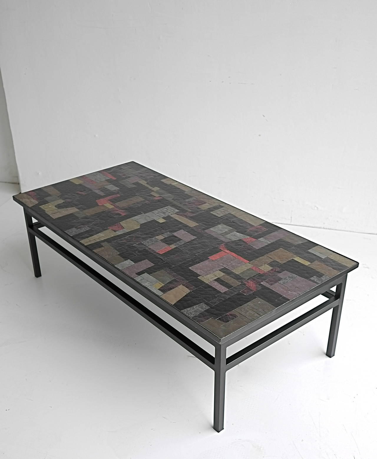 Mid 20th Century Pia Manu Multi Colored Glass Art Coffee Table For