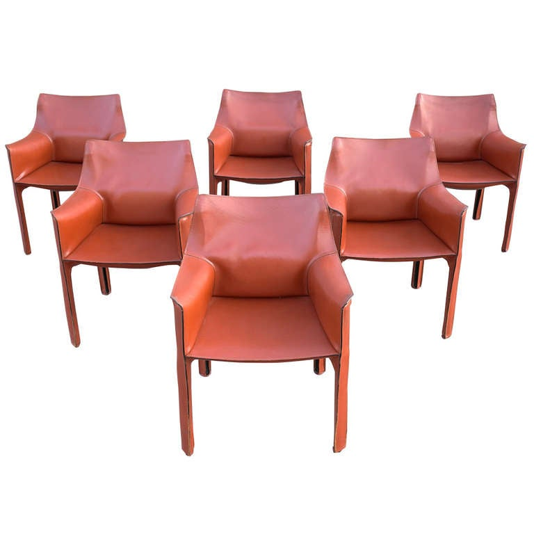 Mario Bellini Cab Chairs Set Of Six For Cassina At 1stdibs