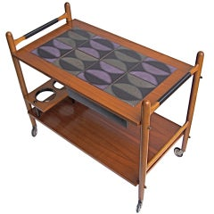 Danish Tea Cart With Abstract Tile Top
