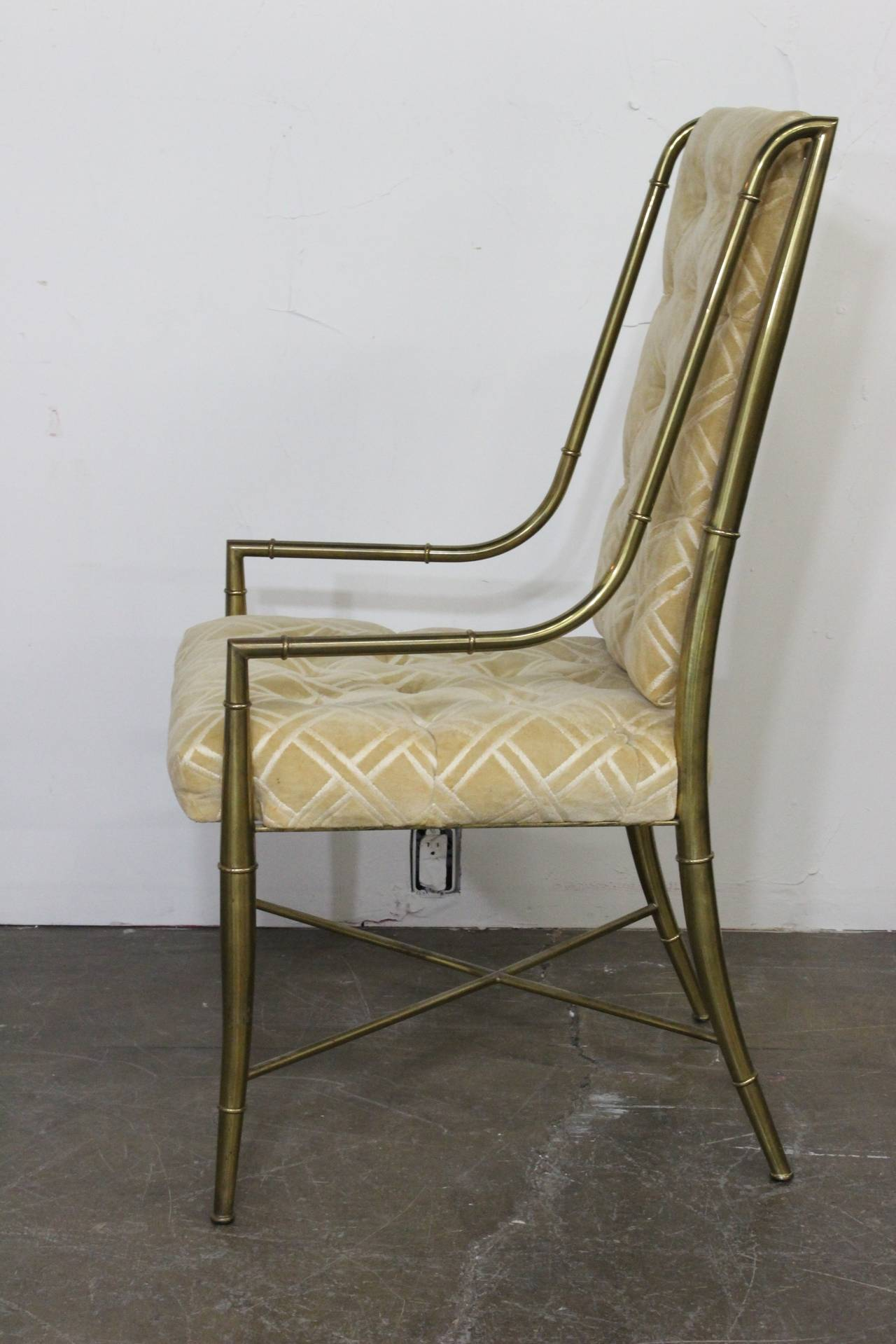 Set Of Six Faux Bamboo Brass Mastercraft Dining Chairs At 1stdibs