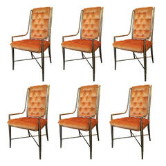 Set of Six Faux Bamboo Brass Mastercraft Dining Chairs