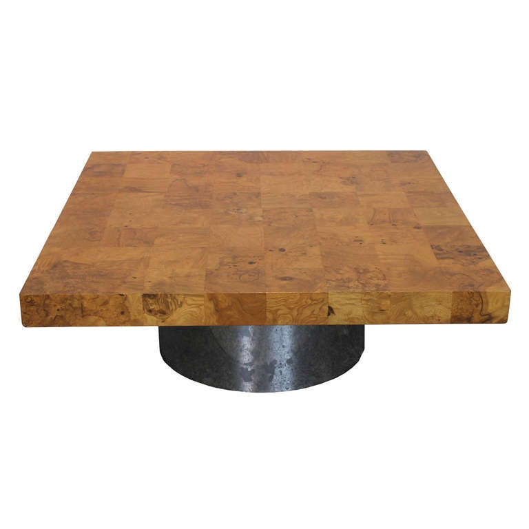 Milo Baughman Burl Wood Coffee Table For Thayer Coggin At 1stdibs