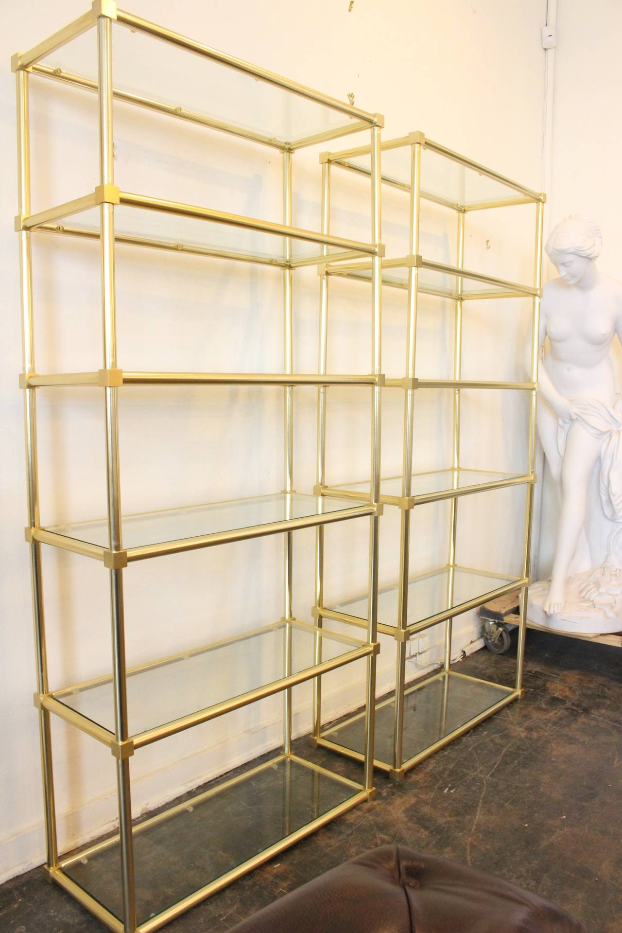 Pair of Brass Etageres with Glass Shelving at 1stdibs