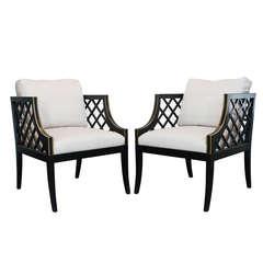 Pair Grosfeld House Lattice Chairs