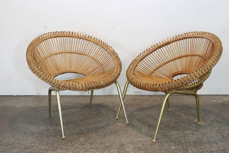 Pair of Rattan Chairs in the Style of Franco Albini In Good Condition For Sale In Dallas, TX