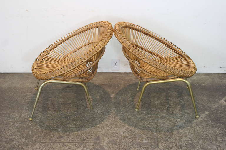 19th Century Pair of Rattan Chairs in the Style of Franco Albini For Sale
