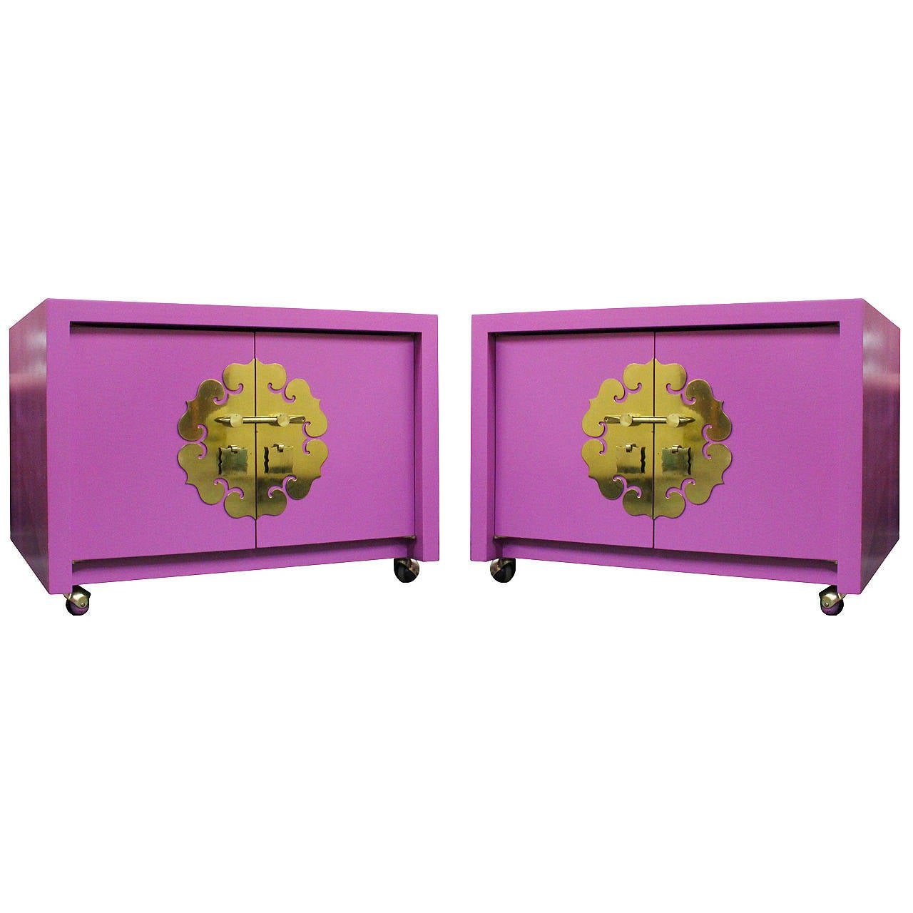 Pair of Radiant Orchid Asian Style Cabinets