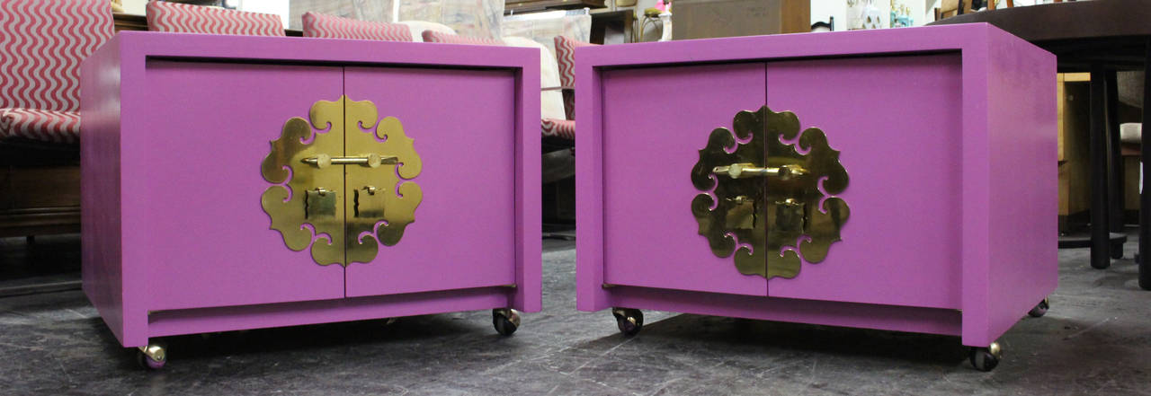 Pair of radiant orchid Asian Style cabinets with orange suede interiors.  Dimensions: 30