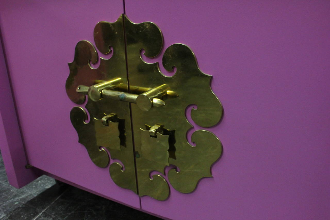 Pair of Radiant Orchid Asian Style Cabinets 2
