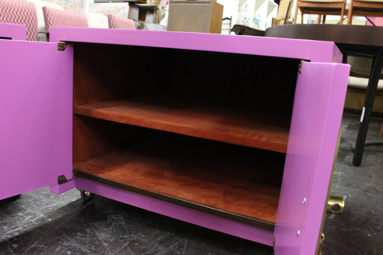 Pair of Radiant Orchid Asian Style Cabinets 1