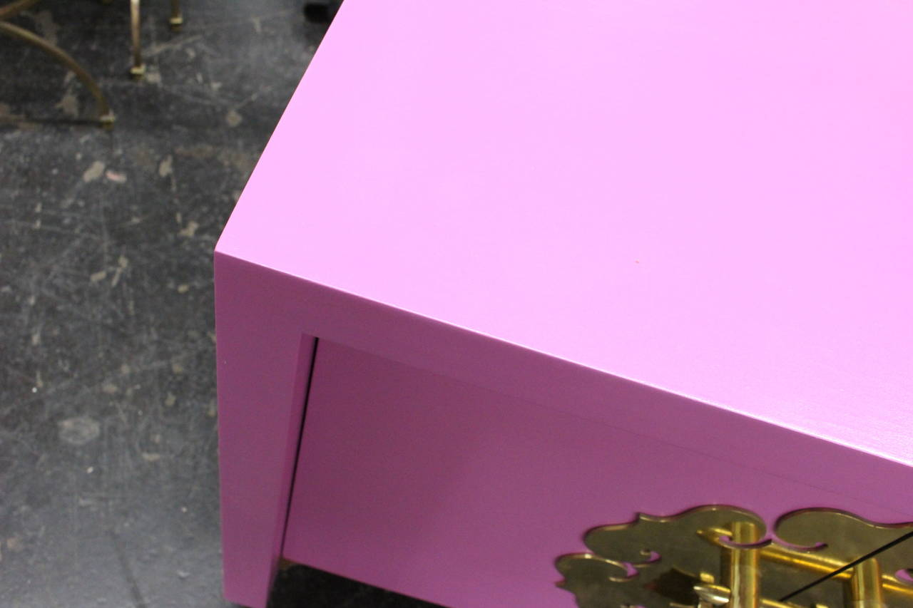 Pair of Radiant Orchid Asian Style Cabinets In Good Condition In Dallas, TX