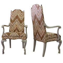 Pair of Ikat Regency Armchairs