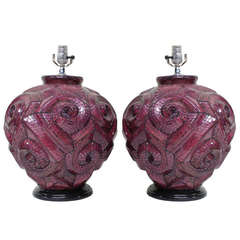 Pair Amethyst Glass Mosaic Lamps