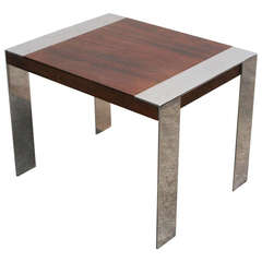 Milo Baughman Style Rosewood and Chrome Side Table
