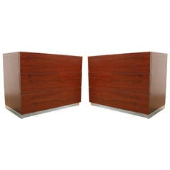 Pair of Milo Baughman Rosewood Nightstands