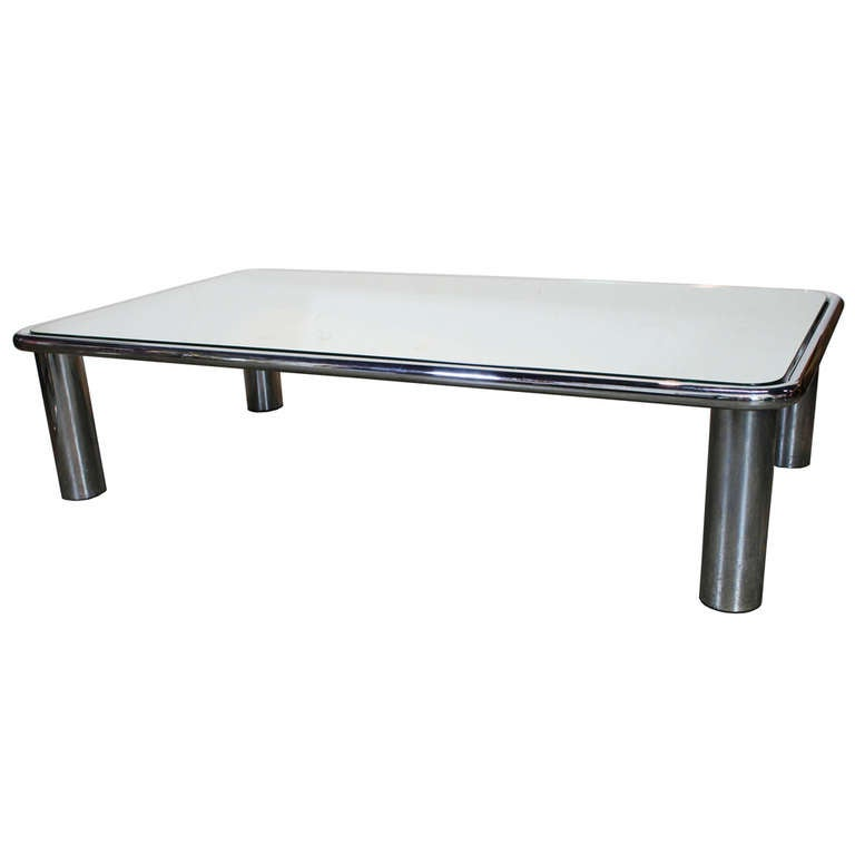 Mirror Top Chrome Coffee Table By Mario Bellini At 1stdibs