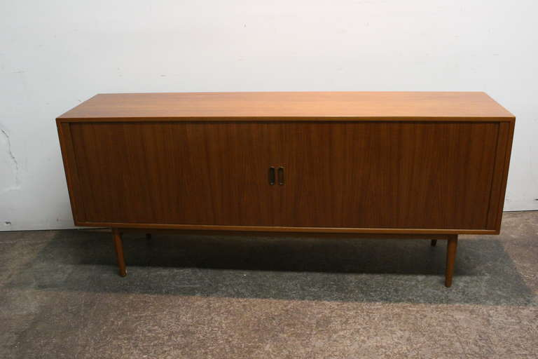 Danish Teak Credenza : Danish teak credenza with tambour doors by arne vodder at stdibs