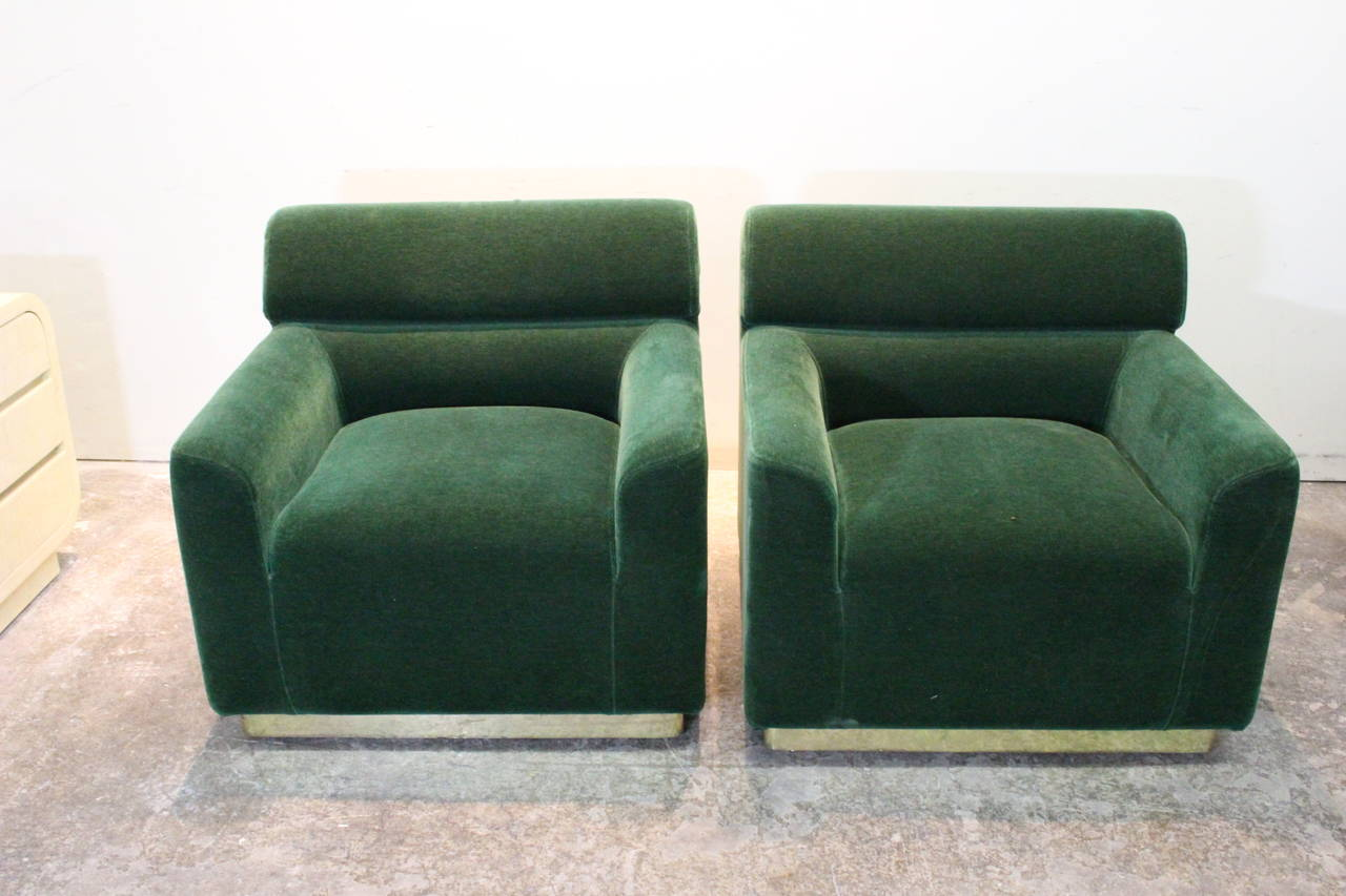 Pair of 70s Emerald Green Mohair Club Chairs at 1stdibs