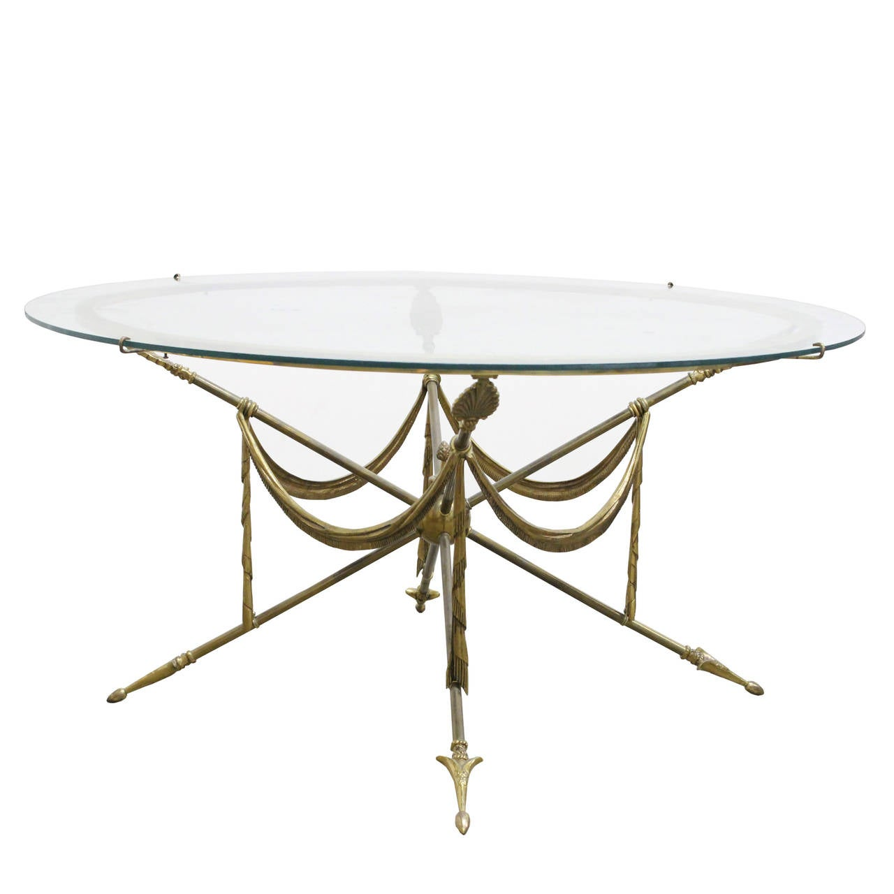1970s gueridon style brass arrow coffee table at 1stdibs for Table gueridon