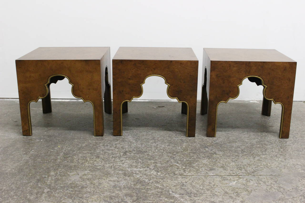Set Of Three Burl Wood Hollywood Regency Coffee Tables By Drexel At 1stdibs