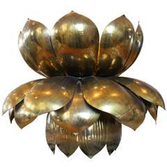 Large Brass Lotus Pendant by Feldman