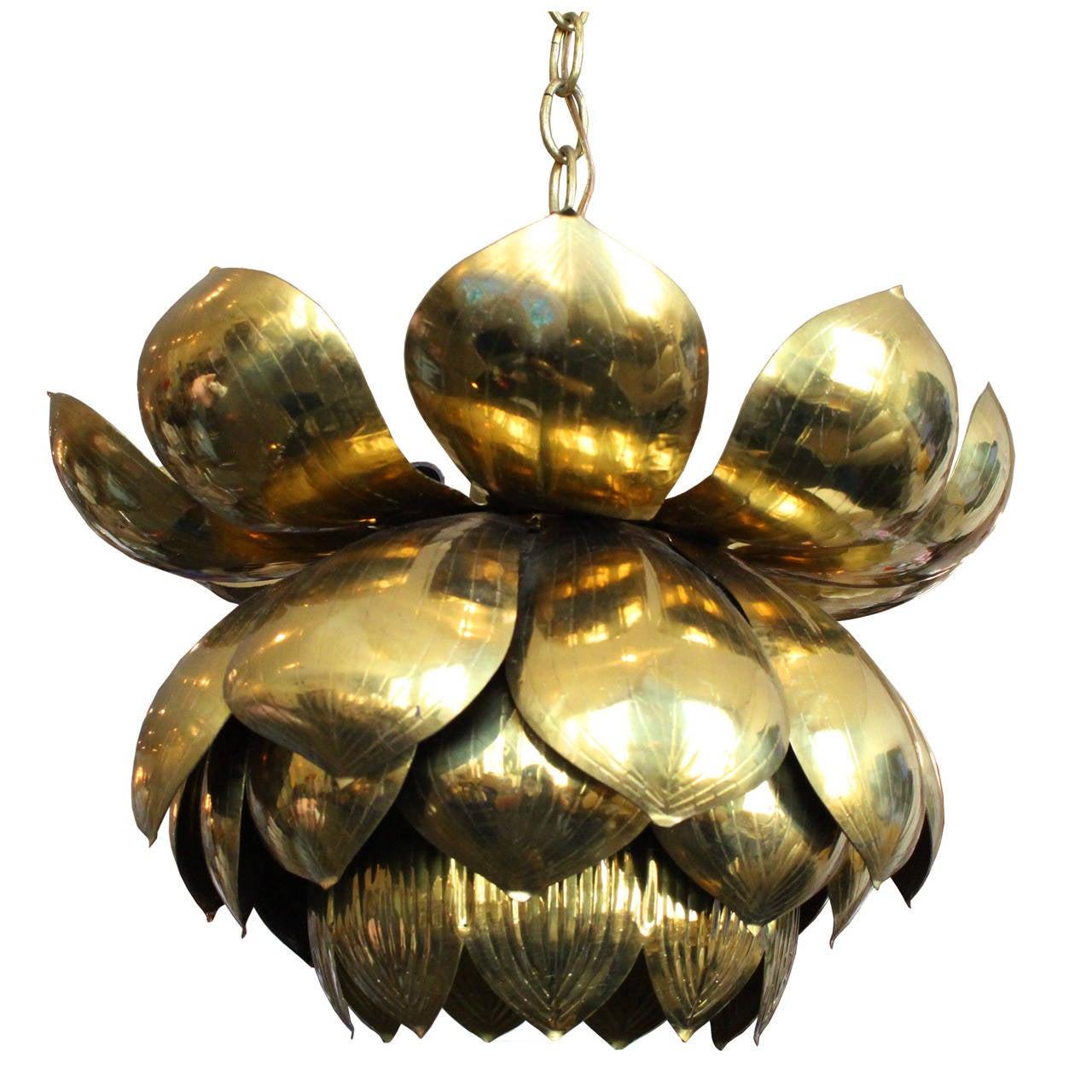Medium Brass Lotus Pendant by Feldman