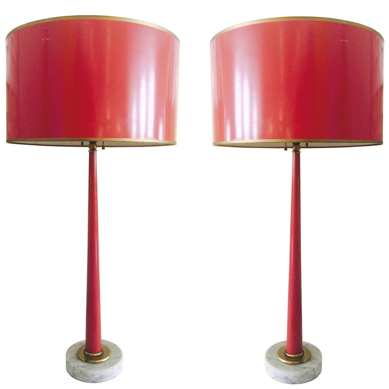 Pair Of 1960s Red Lacquer Lamps And Shades For Sale At 1stdibs