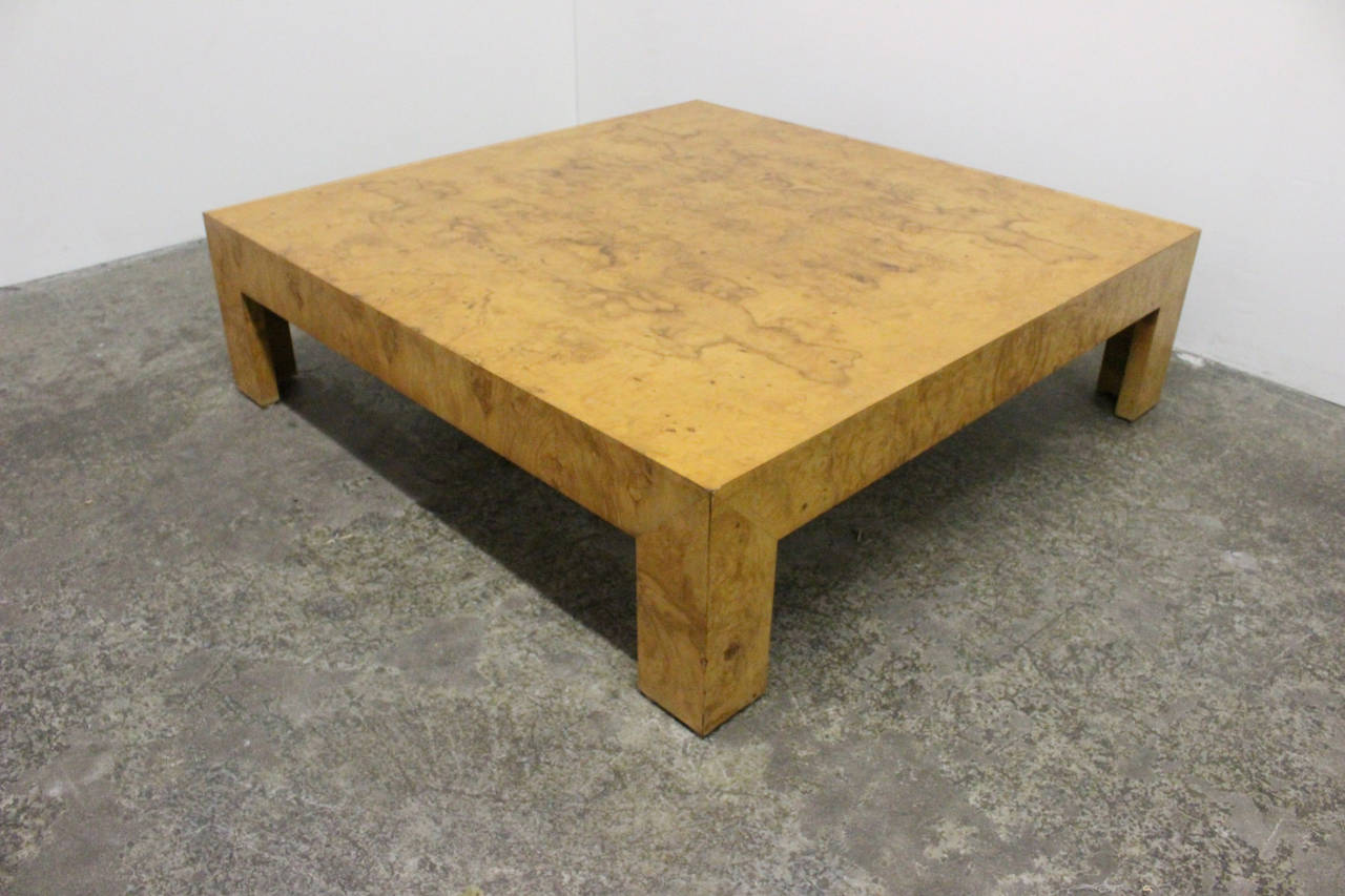 monumental parsons burl wood coffee tablemilo baughman at 1stdibs