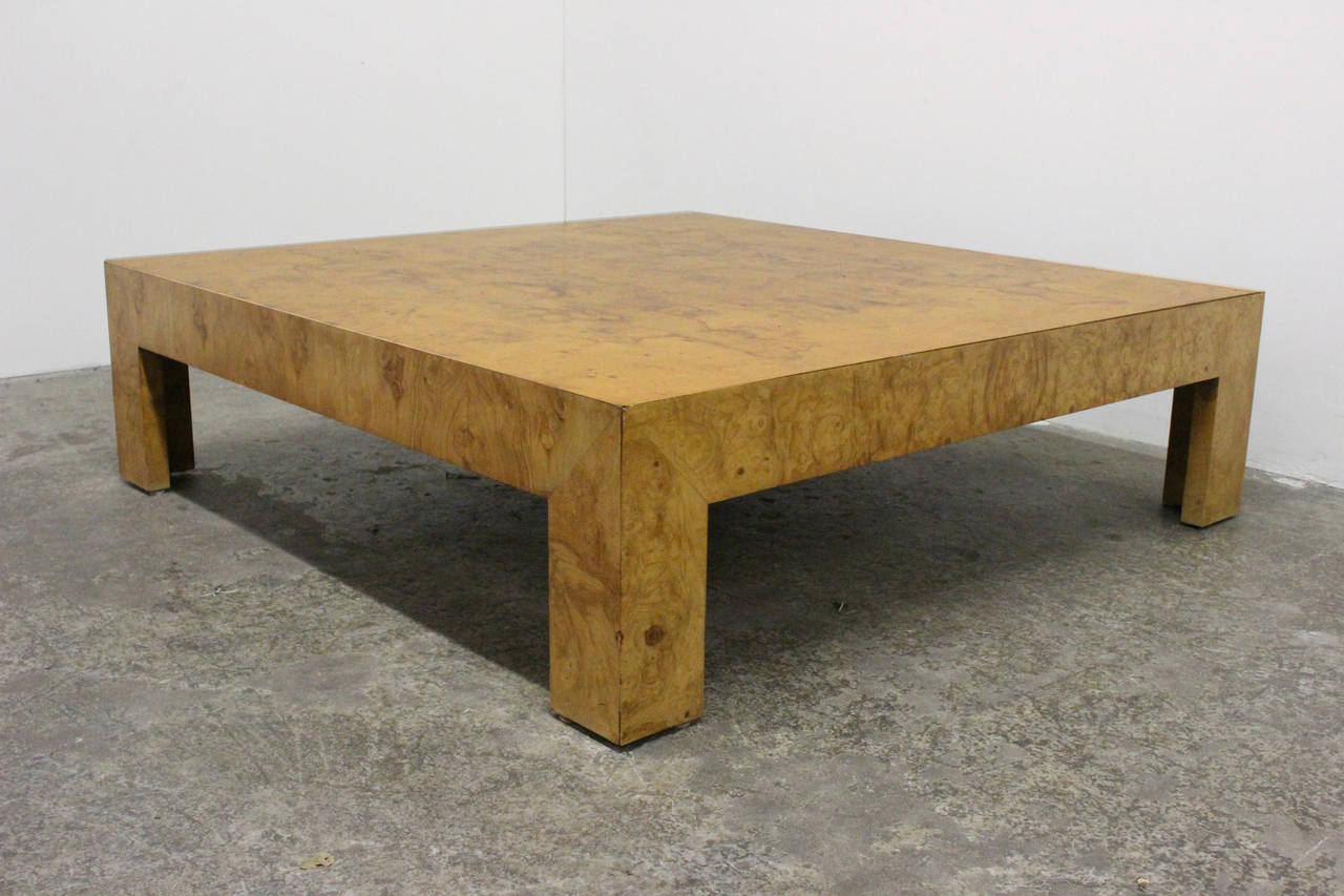 monumental parsons burl wood coffee table by milo baughman at 1stdibs. Black Bedroom Furniture Sets. Home Design Ideas