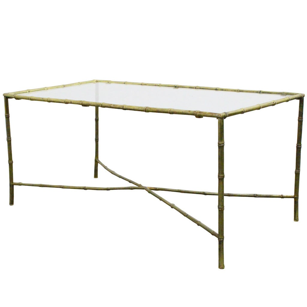 Brass Faux Bamboo Coffee Table: French Brass Faux Bamboo Cocktail Table In The Style Of