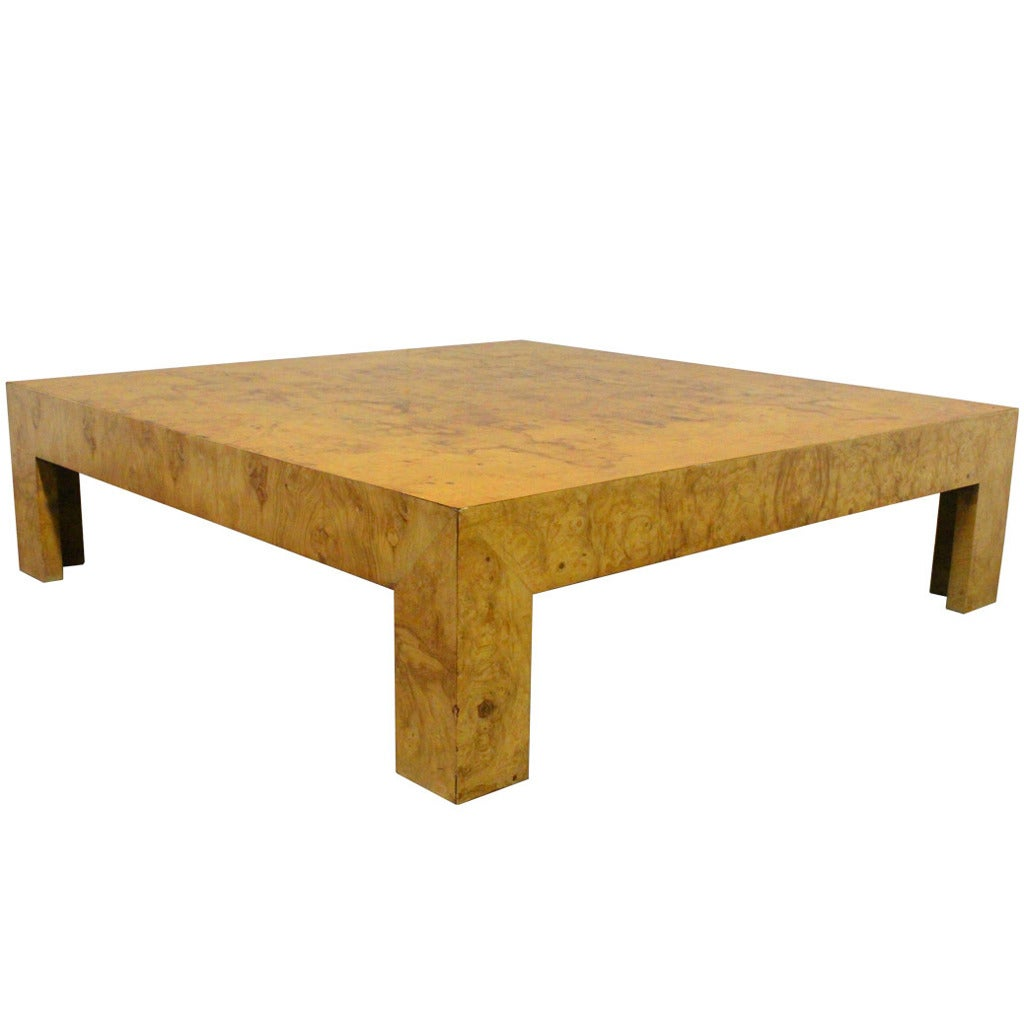 Monumental Parsons Burl Wood Coffee Table By Milo Baughman At 1stdibs