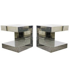 Pair of Signed Evans Cityscape Chrome Side Tables