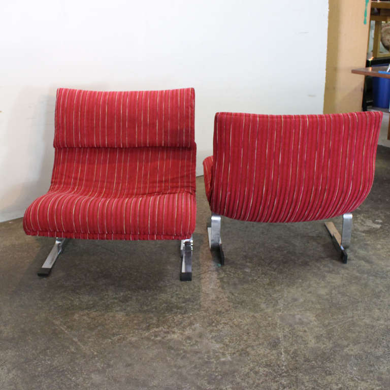 Onda Chair And Ottoman In Missoni Fabric By Giovanni: Pair Of Onda Lounge Chairs By Saporiti At 1stdibs