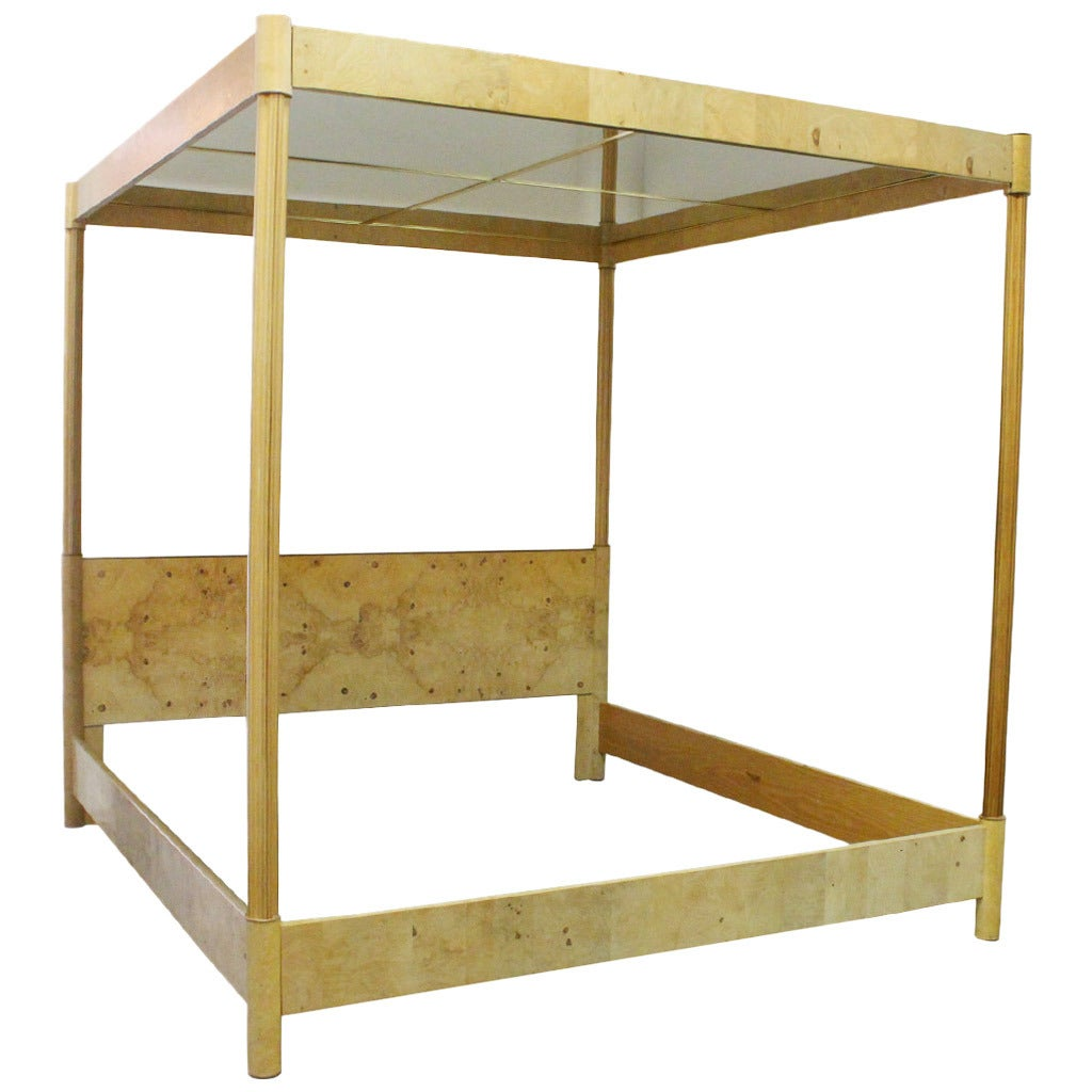 Mirrored Canopy Bed Frame