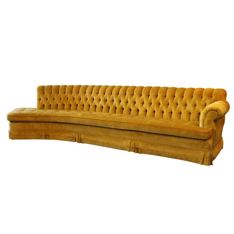 Extra Long Leather Sofa For Sale: Long Regency Tufted Sofa At 1stdibs